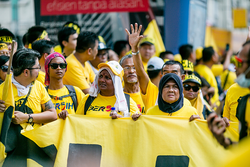 Malaysians protest in the Bersih 5 rally.